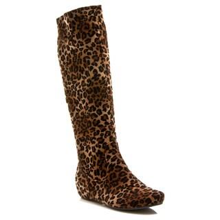 Gomax Women's 'Nicla 09' Mid-Calf Wedge Leopard Print Boot
