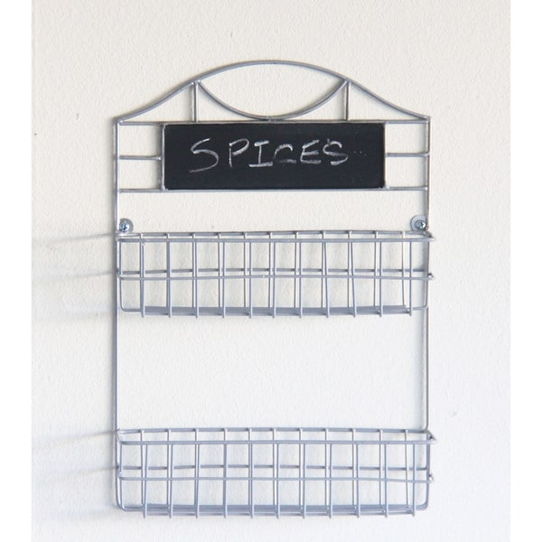 Wall-mounted 2-tier Spice Rack with Chalkboard