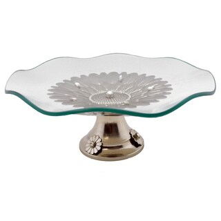Waved Round Platter on Metal Base