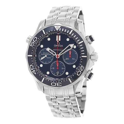 Omega Men's 212.30.44.50.03.001 'Seamaster300 Divers' Blue Dial Stainless Steel Chronograph Swiss Au