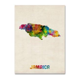 Michael Tompsett 'Jamaica Watercolor Map' Canvas Wall Art