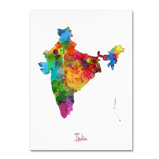 Michael Tompsett 'India Watercolor Map' Canvas Wall Art
