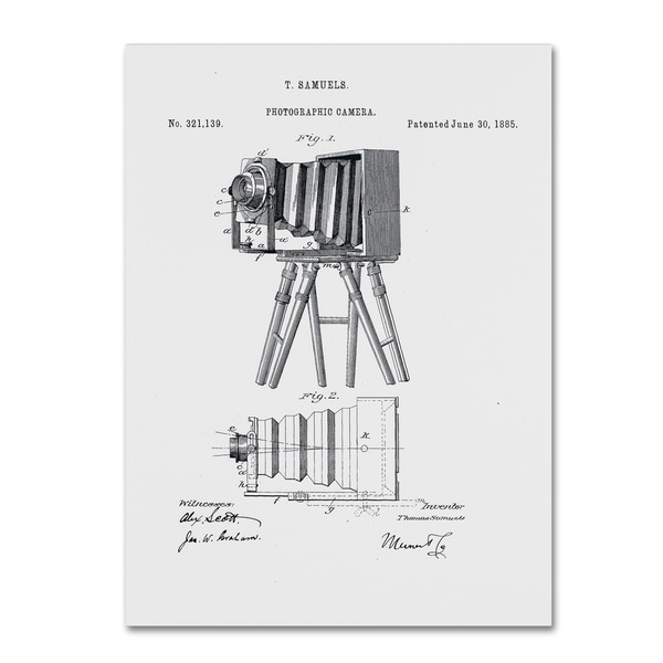 Claire Doherty 'Photographic Camera Patent 1885 White' Canvas Wall Art