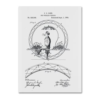 Claire Doherty 'One Wheeled Vehicle Patent 1885 White' Canvas Wall Art