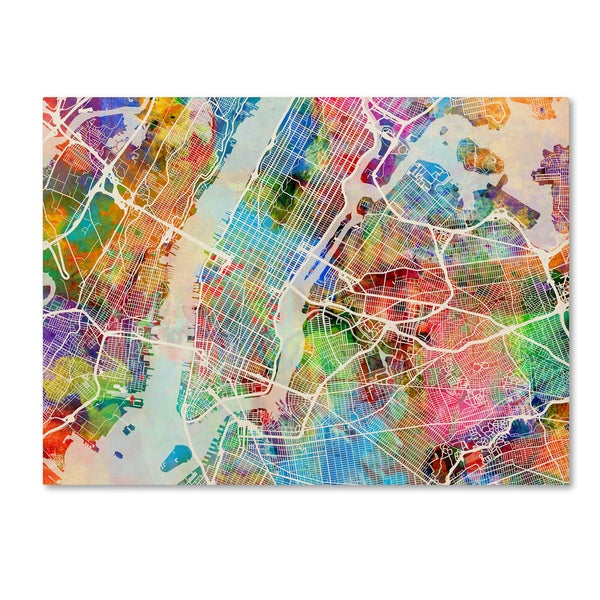 3 Piece Painting On Canvas Wall Art Nyc Street Lights New: Shop Michael Tompsett 'New York City Street Map' Canvas