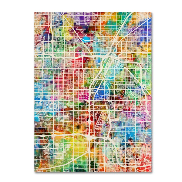 Michael Tompsett 'Las Vegas City Street Map' Canvas Wall Art