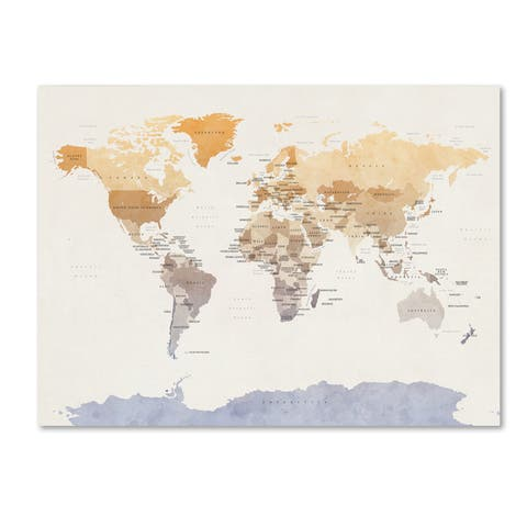 Michael Tompsett 'Watercolour Political Map of the World' Canvas Wall Art