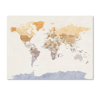 Michael Tompsett 'Watercolour Political Map of the World' Canvas Wall Art