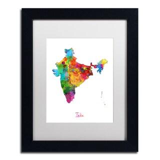 Michael Tompsett 'India Watercolor Map' White Matte, Black Framed Wall Art