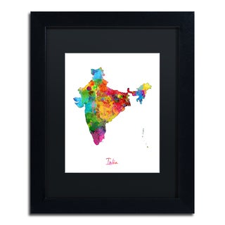 Michael Tompsett 'India Watercolor Map' Black Matte, Black Framed Wall Art