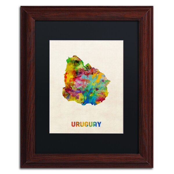 Michael Tompsett 'Uruguay Watercolor Map' Black Matte, Wood Framed Wall Art
