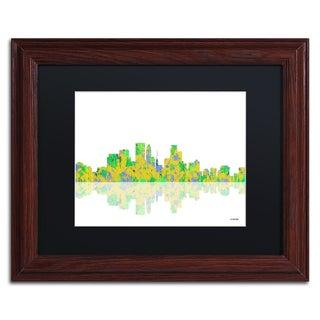 Marlene Watson 'Minneapolis Minnesota Skyline' Black Matte, Wood Framed Wall Art