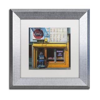 Eric Joyner 'Blue Zeroid' White Matte, Silver Framed Wall Art