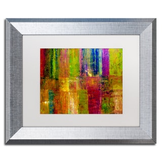 Michelle Calkins 'Color Abstract' White Matte, Silver Framed Wall Art