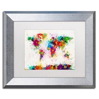 Michael Tompsett 'Paint Splashes World Map' White Matte, Silver Framed Wall Art