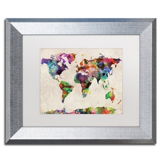 Michael Tompsett 'Urban Watercolor World Map' White Matte, Silver Framed Wall Art