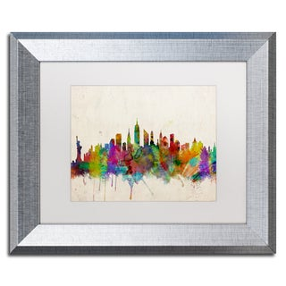 Michael Tompsett 'New York Skyline II' White Matte, Silver Framed Wall Art