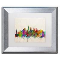 Michael Tompsett 'New York Skyline II' White Matte, Silver Framed Wall Art
