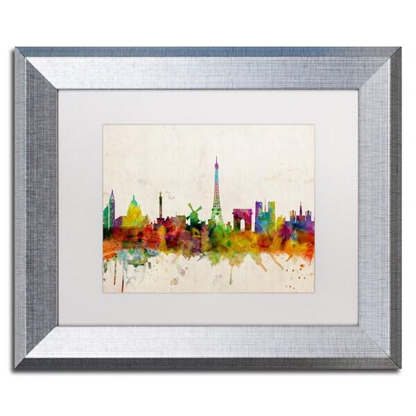 Michael Tompsett \'Paris Skyline\' White Matte, Silver Framed Wall Art ...