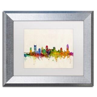 Michael Tompsett 'Nashville Skyline' White Matte, Silver Framed Wall Art