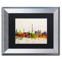 Michael Tompsett 'Paris Skyline' Black Matte, Silver Framed Wall Art