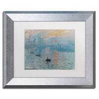 Claude Monet 'Impression Sunrise' White Matte, Silver Framed Wall Art