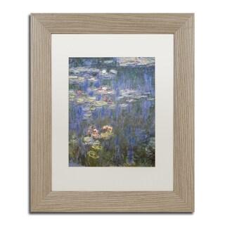 Claude Monet 'Water Lilies IV 1840-1926' White Matte, Birch Framed Wall Art