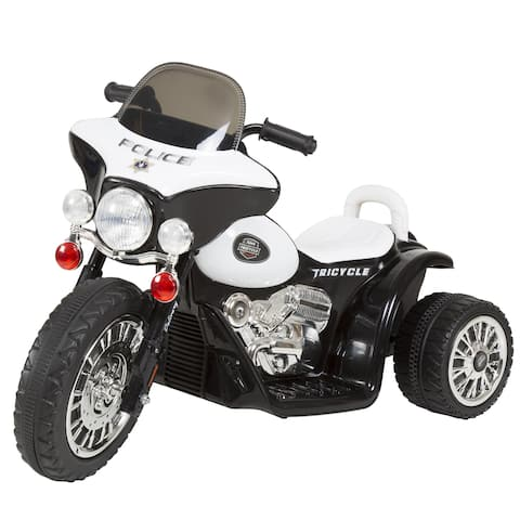 3 Wheel Mini Motorcycle for Kids, Battery Powered Ride on Toy by Rockin? Rollers ? Toys for Boys & Girls? Police Car