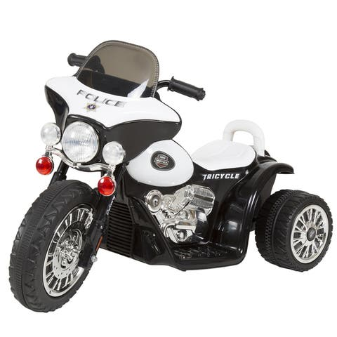 3 Wheel Mini Motorcycle for Kids, Battery Powered Ride on Toy by Rockin Rollers  Toys for Boys & Girls Police Car