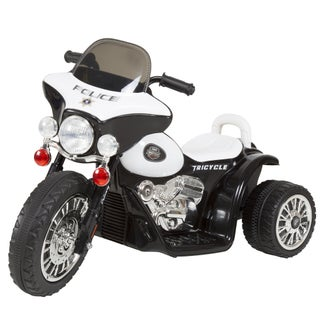 Trademark Rockin' Rollers Toys 3-wheel Battery-powered Ride-on Mini Police Car Motorcycle for Kids (Option: Black Ride-On)