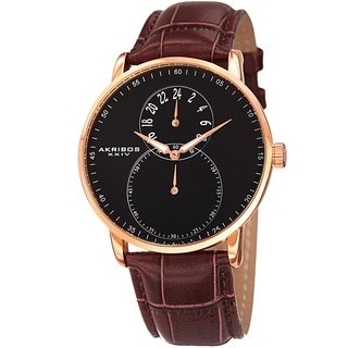 Akribos XXIV Men's Multifunction Quartz Leather Rose-Tone Strap Watch