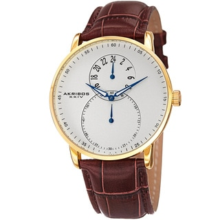 Akribos XXIV Men's Multifunction Quartz Leather Gold-Tone Strap Watch