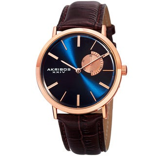Akribos XXIV Men's Classic Quartz Date Display Leather Rose-Tone Strap Watch with FREE GIFT - Brown