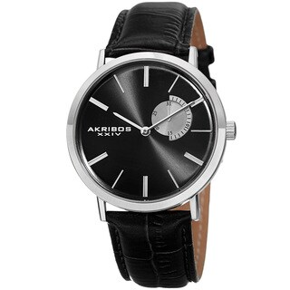 Akribos XXIV Men's Classic Quartz Date Display Leather Silver-Tone Strap Watch - Black
