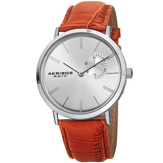 Akribos XXIV Men's Classic Quartz Date Display Leather Silver-Tone Strap Watch