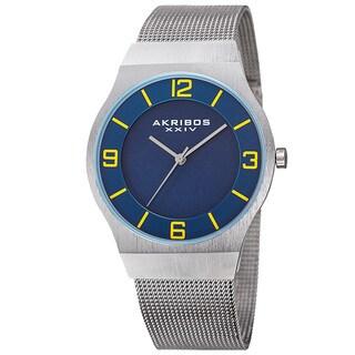 Akribos XXIV Men's Quartz Stainless Steel Mesh Blue Bracelet Watch