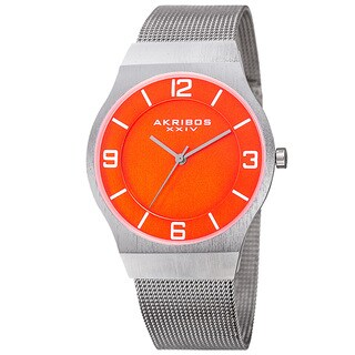 Akribos XXIV Men's Quartz Stainless Steel Mesh Orange Bracelet Watch