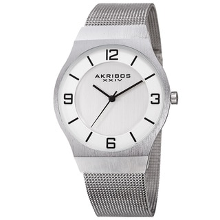 Akribos XXIV Men's Quartz Stainless Steel Mesh Silver-Tone Bracelet Watch