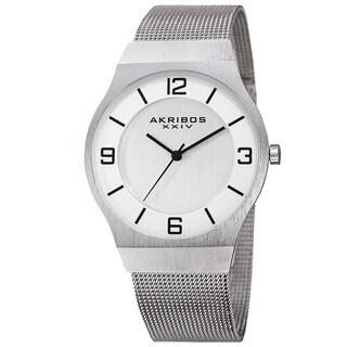 Akribos XXIV Men's Quartz Stainless Steel Mesh Silver-Tone Bracelet Watch - silver
