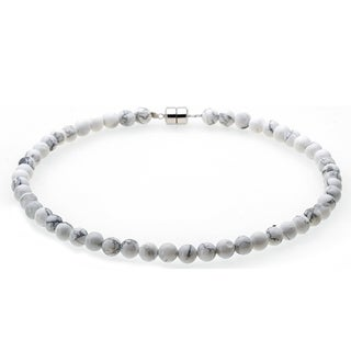 Sterling Silver 8mm White Howlite Beaded Necklace