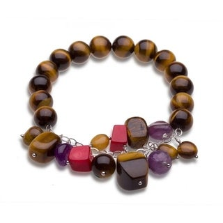 Sterling Silver Tiger Eye and Gemstone Beaded Stretch Bracelets