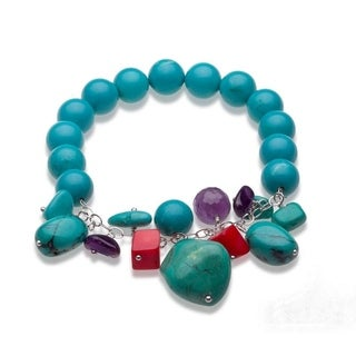Sterling Silver Turquoise and Gemstone Beaded Stretch Bracelet