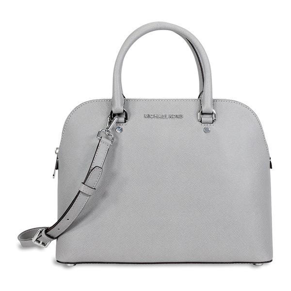 michael michael kors pearl grey u0026 39cindy u0026 39 saffiano leather dome satchel handbag