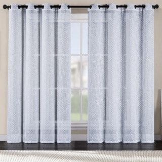 VCNY Merill Metallic Printed Faux Linen Curtain Panel
