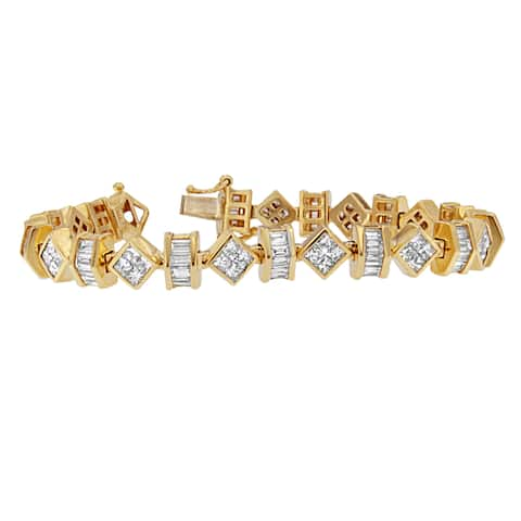 14K Yellow Gold 7 1/2ct. TDW Princess and Baguette Cut Diamond Modern Link Bracelet (G-H,VS1-VS2)