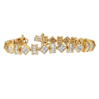 14k Yellow Gold 7 1/2ct TDW Princess and Baguette Diamond Bracelet