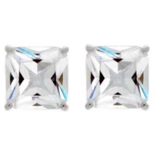 Nexte Jewelry Goldtone or Silvertone Extra Large White Princess Cut Cubic Zirconia Stud Earrings