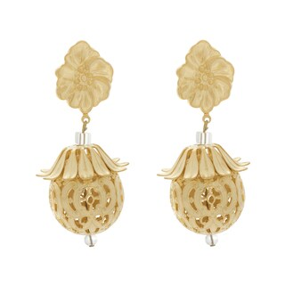 Nexte Jewelry Goldtone Taal Dangle Clip-on Earrings