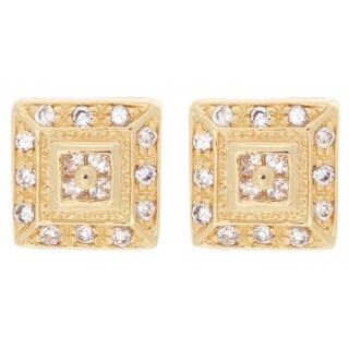 Goldtone or Silvertone Cubic Zirconia Square Stud Earrings