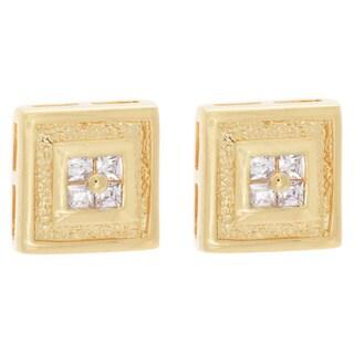 Goldtone or Silvertone Princess Cut Cubic Zirconia Square Stud Earrings
